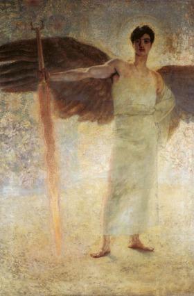 Franz von Stuck - Anioł z ognistym mieczem