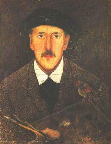 Autoportret z paletą i ptaszkiem