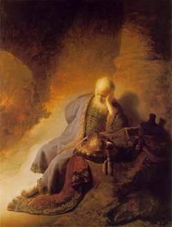 Rembrandt van Rijn - Jeremiasz na gruzach Jerozolimy