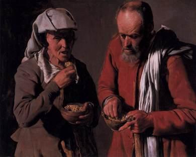 Georges de La Tour - Starzy wieśniacy spożywający pokarm