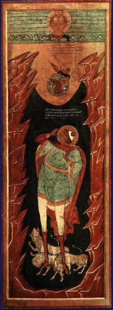 Prorok Daniel w jaskini lwów - 17-wieczna ikona ruska