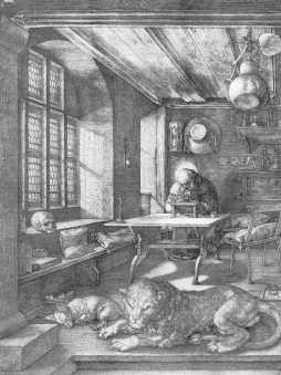 św.Hieronim w pracowni (miedzioryt)