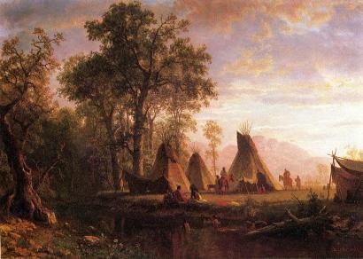 Albert Bierstadt - Indiański obóz o zmierzchu