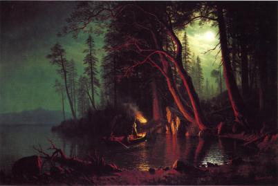 Albert Bierstadt - Łowiący ryby nad jeziorem Tahoe przy świetle pochodni