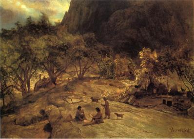 Albert Bierstadt - Obozowisko Indian Mariposa w Yosemite Valley