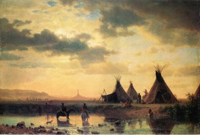 Albert Bierstadt - Widok na Chimney Rock z wioską Siuksów Ogalillalh
