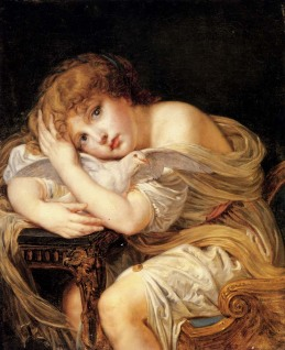 Jean Baptiste Greuze: Dziewczynka z gołąbkiem