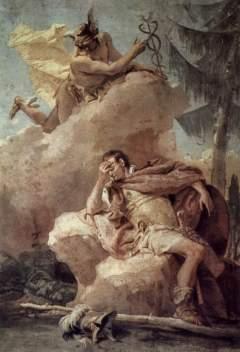 Giovanni Battista Tiepolo: Merkury nawołujący Eneasza do opuszczenia Kartaginy