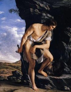 Orazio Gentileschi: Dawid kontemplujący głowę Goliata
