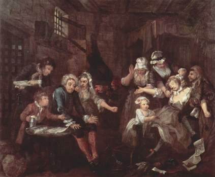 William Hogarth: Scena w więzieniu (Żywot rozpustnika)