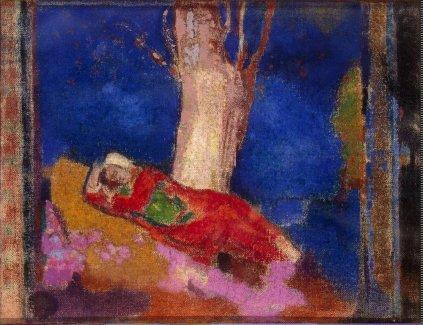 Odlon Redon: Kobieta śpiąca pod drzewem