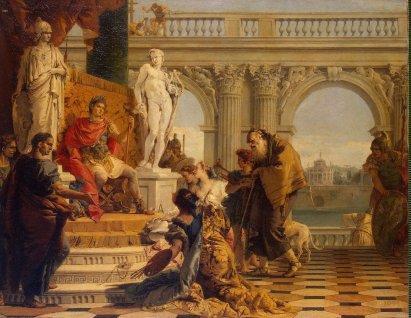 Giovanni Battista Tiepolo: Mecenas prezentujący sztuki wyzwolone przed cesarzem Augustem