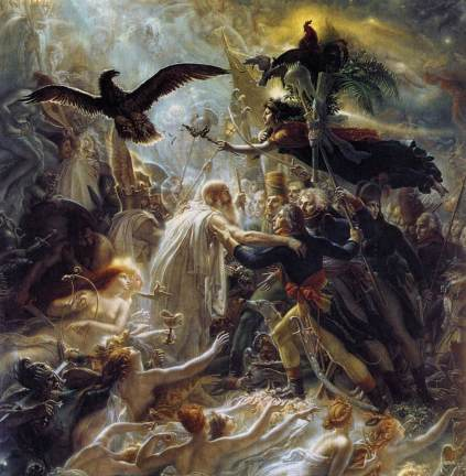 Anne Louis Girodet Trioson: Osjan witający dusze poległych żołnierzy francuskich