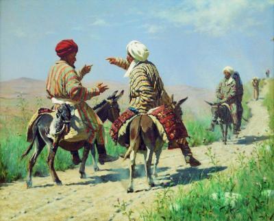 Wasilij Wereszczagin: Mułła Pachim i mułła Kerim w drodze na bazar