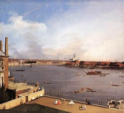 Giovanni Antonio Canal: Tamiza i Londyn od strony Richmond House