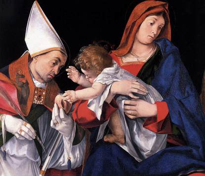 Lorenzo Lotto: Madonna z Dzieciątkiem i św Ignacym z Antiochii
