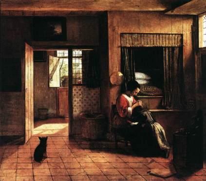 Pieter de Hooch: Kobieta z kotem