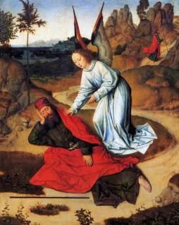 Dirk Bouts: Anioł budzący Eliasza