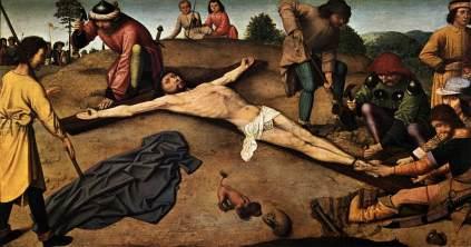 Gerard David: Przybicie Chrystusa do krzyża