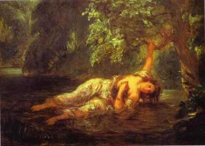 Eugène Delacroix.: Śmierć Ofelii