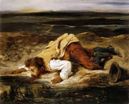Eugène Delacroix: Ranny zaspokajający pragnienie
