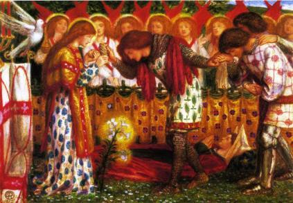 Dante Gabriel Rossetti: Flammetta: Galahad, Bors i Parsifal