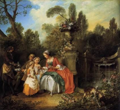 Nicolas Lancret: Para z dziewczynkami i służącą