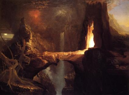 Thomas Cole: Expulsion moon and firelight