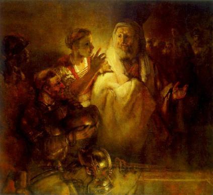 Rembrandt: Piotr zapierajacy się Chrystusa