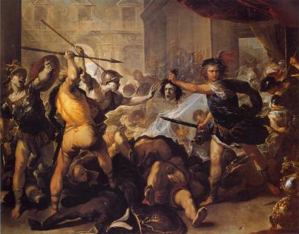 Luca Giordano: Fineus i jego współtowarzysze zamienieni w kamień