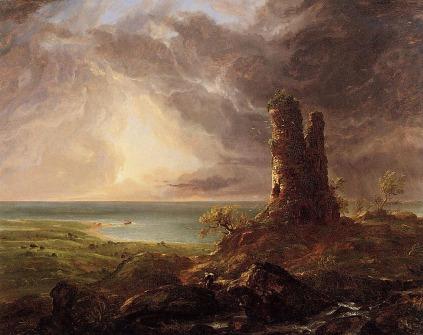 Thomas Cole: Krajobraz ze zrujnowaną wieżą