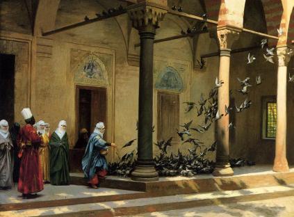 Jean-Léon Gérôme: Kobiety z haremu karmiące gołębie